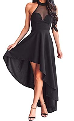 Lrud Women's Halterneck Sexy Decolletage Evening Gowns Off Shoulder Sleeveless Hi-Low Hemline Party Club Dress