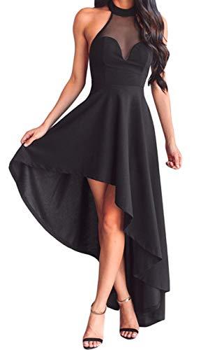 Lrud Women's Halterneck Sexy Sheer Mesh Decolletage Evening Gowns Off Shoulder Sleeveless Hi-low Hemline Party Club Dress Black XL by Lrud
