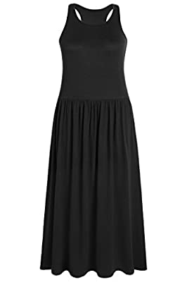 Weintee Women's Sleeveless Racerback Maxi Dress with Pockets