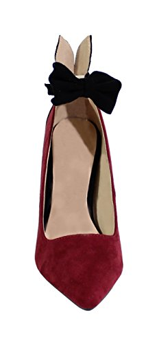 By Shoes Escarpin Talon Aiguille Style Daim - Femme Wine Red RN6AH2G59