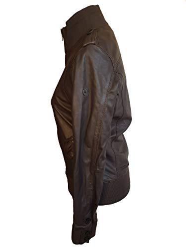 Timberland Oscuro Para Con De Marrón Cremallera Piel Chaqueta Mujer A0510 paqZrp