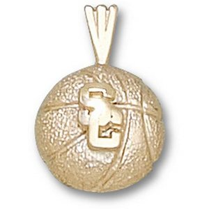 USC Trojans 1/4in 14k Basketball Pendant/14kt yellow gold