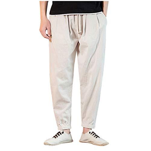 MIS1950s Cotton Linen Shorts for Men Mens Baggy Ankle Length Harem Pants Loose Solid Color Trousers