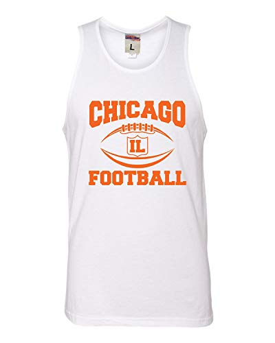 - Go All Out Medium White Adult Chicago Football Sleeveless Tank Top Cotton T-Shirt