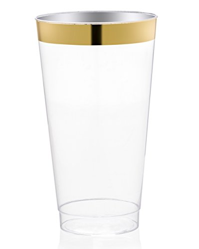 DRINKET Gold Plastic Cups 16 oz Clear Plastic Cups / Tumblers Fancy Plastic Wedding Cups With Gold Rim 50 Ct Disposable For Party Holiday and Occasions SUPER VALUE - Gold Rim With Glasses