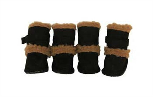 Pet Life Shearling Duggz Shoes (features 3M Thinsulate): Black/Brown, Large by Pet Life