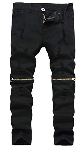 Boy's Black Skinny Fit Ripped Distressed Elastic Waist Zipper Jeans with Holes for -