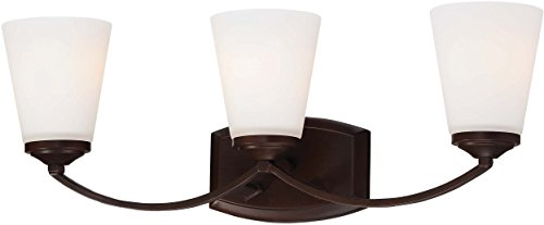 Minka Lavery Wall Light Fixtures 6963-284 Overland Park Glass Bath Vanity Lighting, 3 Light, Vintage Bronze