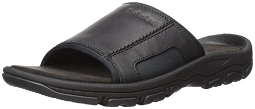 Timberland Men's Roslindale Slide Sandal, Black Full Grain, 10 Medium US (Casual Slides Leather)