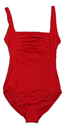 Calvin Klein Womens Shirred One-Piece Swimsuit Red Ginger 12