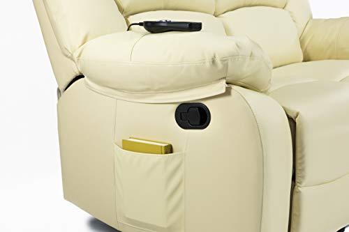 ECODE Fauteuil Inclinable Deux Places avec Massage Ondulant Vibrant, Chaleur Lombaire, Similicuir Noir ECO-8590/2 Beige