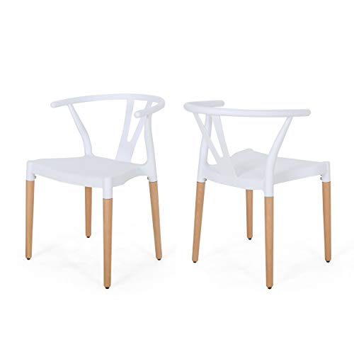Christopher Knight Home 308950 Victoria Modern Dining Chair with Beech Wood Legs (Set of 2), White and Natural Finish, ()
