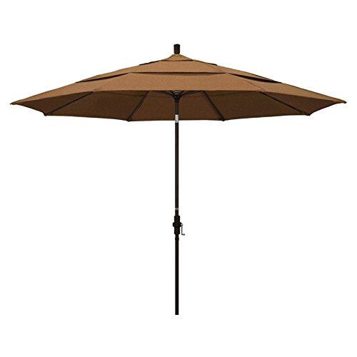 California Umbrella 11' Round Aluminum Market Umbrella, Crank Lift, Collar Tilt, Bronze Pole, Sunbrella (Teak Sunbrella Shade)