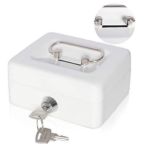 Small Cash Box with Lock and Slot - Jssmst Metal Coin Lock Box for Kids Safe Money Box, White