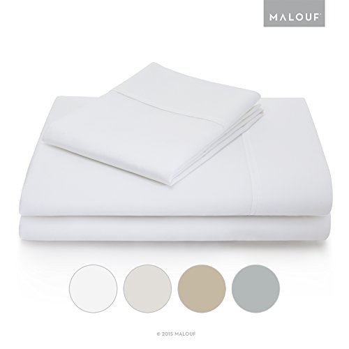 MALOUF Woven 600 Thread Count Luxurious Feel Soft Cotton Blend Sheet Set with Deep Pocket Design - Split Cal King - ()