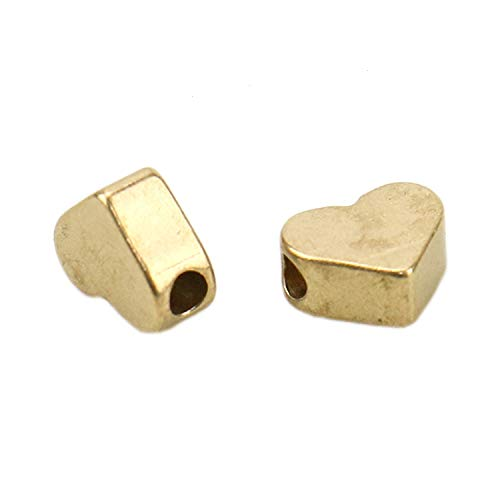 JETEHO About 50 Pieces 7mm Tibetan Sweet Heart Spacer Charm Beads Accessories for Jewelry Bracelets Making, ()