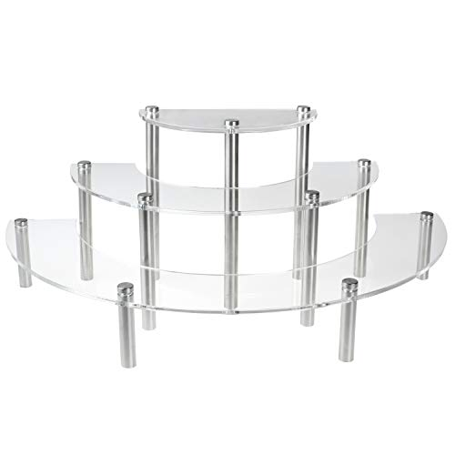 MyGift Clear Acrylic 3 Tier Half Moon Shelf Unit, Table Top Retail Display Riser, Spice Jar Rack