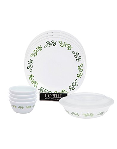 Corelle India Impressions Neo Leaf Glass Dinner Set, 10-Pieces, Green/White