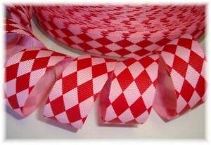 Ribbon Art Craft Perfect Solution for Any Project Decoration 1 Yard 7/8 Valentine RED Pink Jester of Love Grosgrain Ribbon