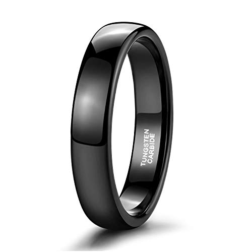 Quality Tungsten Ring - Shuremaster 4mm Mens Womens Wedding Band Black Tungsten Ring High Polish Dome Comfort Fit Size 10
