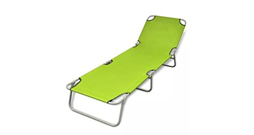 Comfyleads Foldable Sunlounger Adjustable Backrest Apple Green 74.4'' x 22.8'' x 10.6'' by Comfyleads