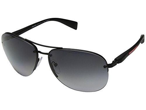 Prada Linea Rossa  Men's 0PS 56MS Black Rubber/Polarized Grey Gradient One - Men Linea