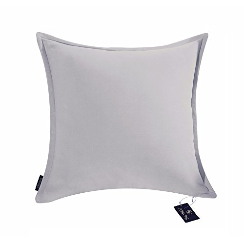 Aitliving Cotton Velvet 1 pc Cotton Decorative Pillow Cushion Cover Silver Grey 16x16 inches(40x40cm) (Grey Cushion)