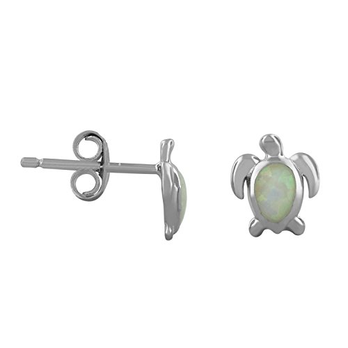 Sterling Silver Synthetic Turtle Earrings product image