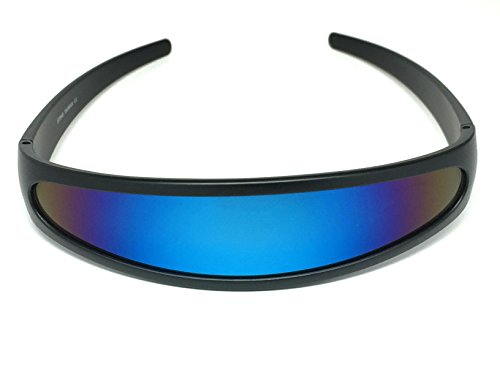 [Futuristic Cyclops Shield Cosplay Mirrored Lens Visor Sunglasses (Visor Black Frame/Blue Revo)] (Women X Men Costumes)