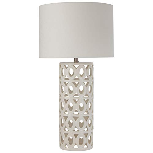 Stone & Beam Ceramic Geometric Cut-Out Table Desk Lamp With LED Light Bulb - 13 x 13 x 25 Inches, White ()