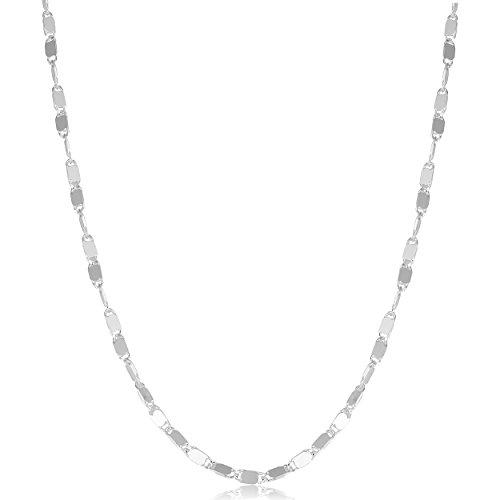 (Kooljewelry Sterling Silver 2 mm Mirror Link Chain Necklace (18 inch))