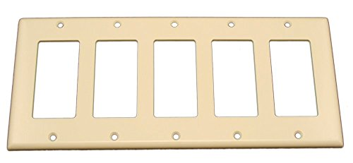 Price comparison product image Leviton 80423-T 5-Gang Decora / GFCI Device Wallplate,  Standard Size,  Thermoset,  Device Mount,  Light Almond
