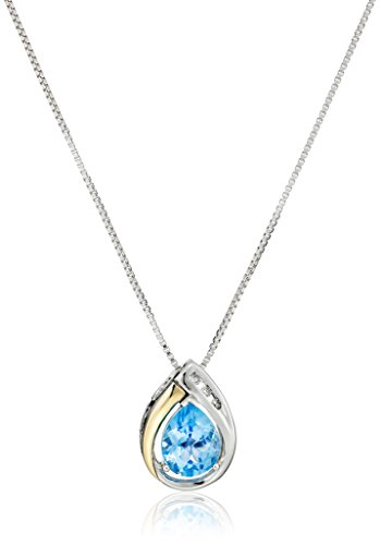 Sterling Silver and 14k Yellow Gold Blue Topaz and Diamond-Accent Tear Drop Pendant Necklace, 18