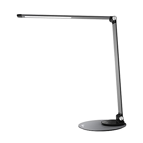 TaoTronics Aluminum Alloy Dimmable LED Desk Lamp with USB Charging Port, Table Lamp for Office Lighting, 3 Color Modes & 6 Brightness Levels, Philips Enabled Licensing Program (Compact Alloy Bar)