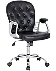كرسي مكتبي جلد بزرار مع قاعدة استيل