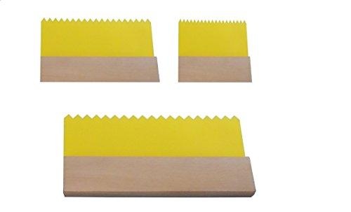 Shentian Art Graining Comb,Yellow Plastic Scraper,3Pcs,DIY Tools