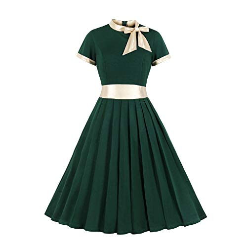 【MOHOLL】 Women's Pleated Stand Collar Bow Dress Vintage Patchwork 50s Party Dress Plus Size Green