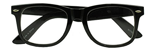 Sunglass Stop - Round Rivet Horn Rim Wayfarer Reading Eye Glasses - Comfortable 80s Classic Rx Magnification Readers Eyewear (Black | Spring Hinge, 2 x)