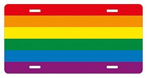 zaeshe3536658 Pride License Plate, Horizontal Rainbow Colored Flag of Gay Parade Freedom Equality Love Passion Theme, High Gloss Aluminum Novelty Plate, 6 X 12 Inches. by zaeshe3536658