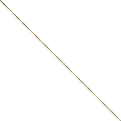 (Chisel White and Yellow Rhodium Over Brass 1.5 MM 2 Color Plated Ball (Beaded) Chain, 18