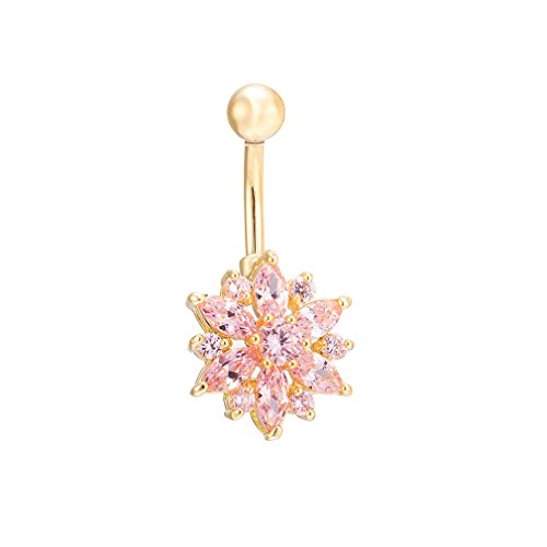 JOFUKIN Belly Bar Button Ring Jeweled Flower Crystal Belly Rings Body Jewellry