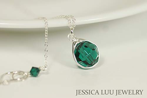 (Sterling Silver Emerald Green Necklace with Swarovski Crystal Pendant Wire Wrapped)