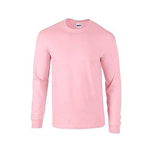 Gildan Mens Plain Crew Neck Ultra Cotton Long Sleeve T-Shirt (XL) (Light Pink)