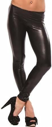 Hot & Sexy Metallic Liquid Wet Look Leggings Womens Shiny Pants , Large, Black