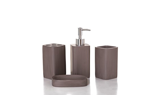 Stylish 4 pieces bathroom accesory set, dress your bathroom with this chic decorative set. Features: bathroom tumbler, toothbrush holder, soap dispenser pump, soap or towel dish. (Set Accesory)