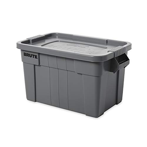 Rubbermaid Commercial Products BRUTE Tote Storage Container with Lid, 20-Gallon, Gray -