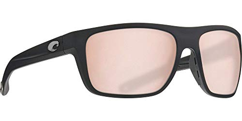 Costa Broadbill Matte Black Plastic Frame Copper Silver Mirror Lens Unisex Sunglasses BRB11OSCP Copper Lens Matte Black Frame