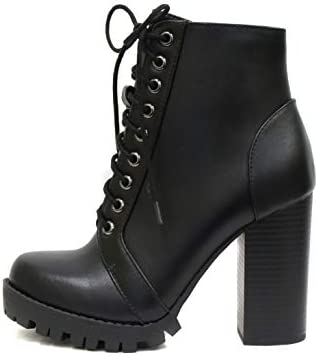 Soda Chalet – Fashion Lace up Military Inspired Ankle Boot with Stacked Heel along with Side Zipper
