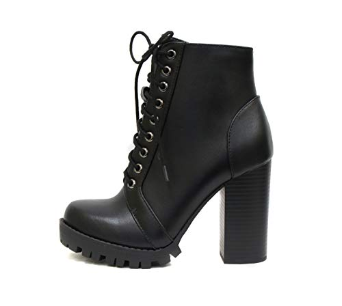SODA Chalet - Fashion Lace up Military Inspired Ankle Boot with Stacked Heel and Side Zipper (7.5, Black)