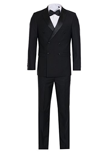 Double Breasted Mens Tuxedo (King Formal Wear Men's Premium Double Breasted Slim Fit Tuxedo-Many Colors (Black, 40 Regular))